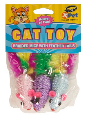 15397 Mini Braided Mice with Feather Tails