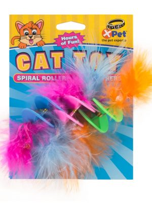 25611 Kitty Spiral Roller With Feathers