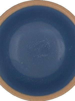 """7390 4"""" Natural Brown Ceramic Dish With Blue Accent Stripes"""