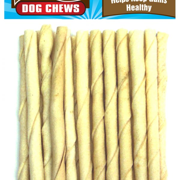 1023 20 Pack 5 Inch X 6-7 mm White Rawhide Twist Stick