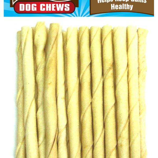 1037 20 Pack 5 Inch X 6-7 mm Natural Rawhide Twist Stick