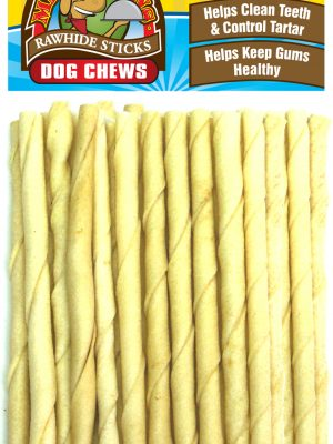 1038 50 Pack 5 Inch X 6-7 mm Natural Rawhide Twist Stick