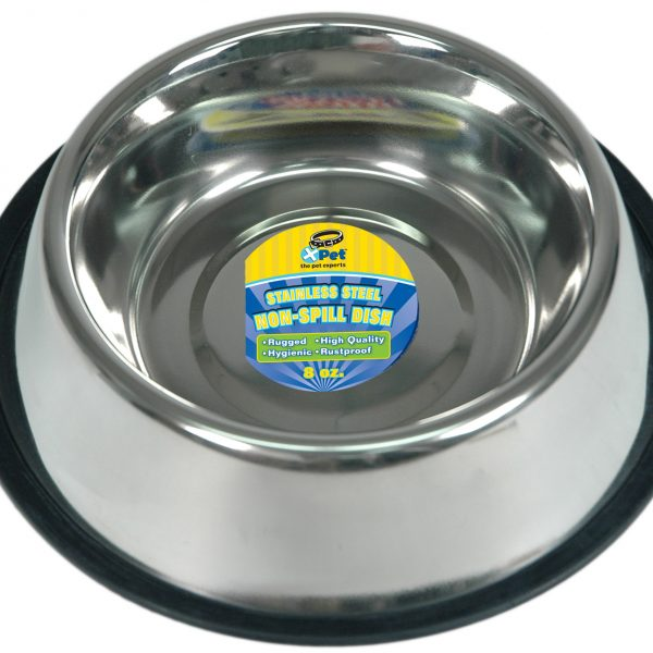 3148 8 Ounce / 1 Cup High Lustre Stainless Steel Non-Spill Dish