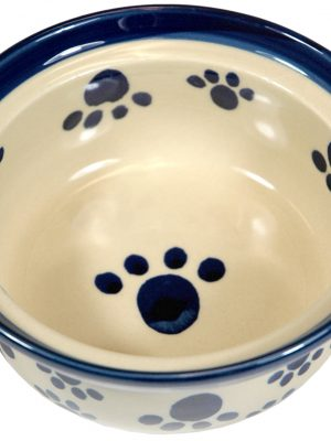 7703 6 Inch Ceramic Dish Beige With Cobalt Blue Paw Prints