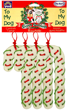 13575 Christmas Flat Rawhide Candy Canes With Laces 4 Pack