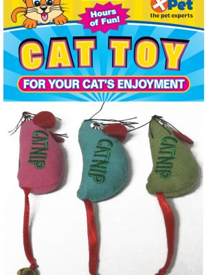 15743 Catnip Embroidered Mice 3 Pack 3 Inch