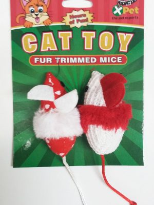 25229 Christmas Fur Trimmed Mice 2 Pack