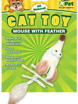 25662 Naturals Mouse with Feather 6 Inch